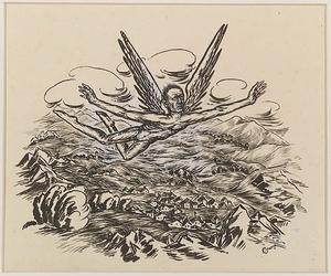 """Ella IRANYI - Zeichnung Aquarell - """"Archangel"""", Drawing, 1930's"""