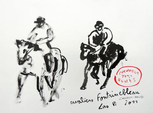 Jean-Pierre CHEVASSUS-AGNES - Dessin-Aquarelle - 2 cavaliers en forêt de FONTAINEBLEAU (77)