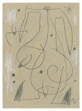 Joan MIRO - Drawing-Watercolor - Femme, oiseau, étoile, constellation