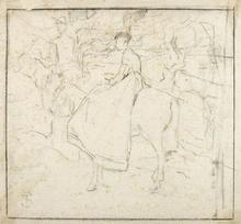 Telemaco SIGNORINI - Drawing-Watercolor - RIDING FIGURES