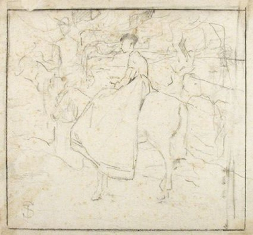 Telemaco SIGNORINI - Drawing-Watercolor - RIDING FIGURES