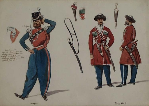 "Franz GAUL - Painting - ""Cossack Uniforms"",  late 19th Century"