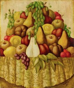 Philippe AUGÉ - 绘画 - Corbeille de fruits