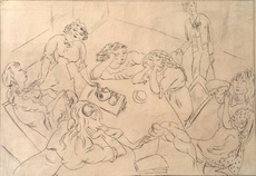 Jules PASCIN - Drawing-Watercolor - Around the Table