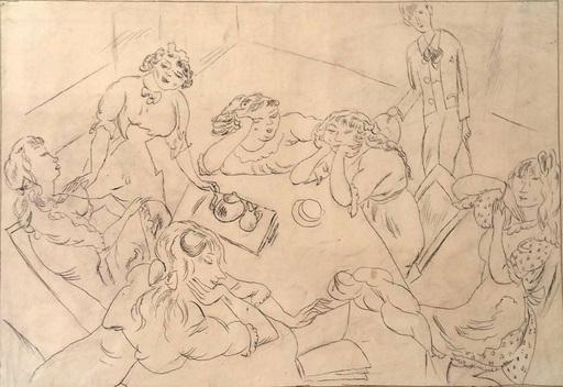 Jules PASCIN - Dibujo Acuarela - Around the Table