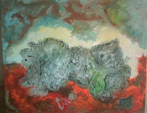 Bernard MOREL - Painting - CHAT-CHIEN