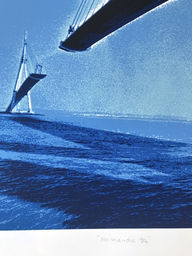 "Bernard LOUVEL - Print-Multiple - Pont de Normandie   ""Normandie 94"""