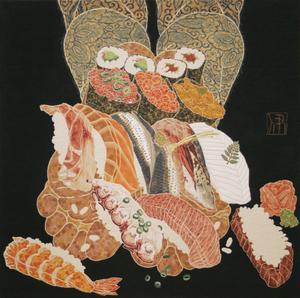 Hiroomi ITO - Pittura - Sushi en los pies