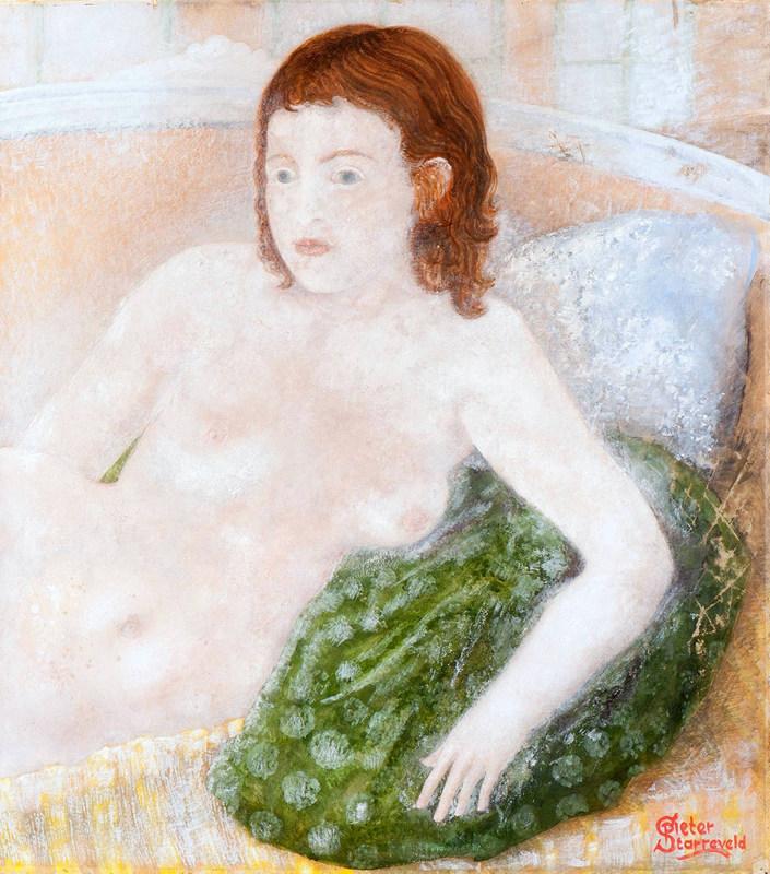 Pieter STARREVELD - Drawing-Watercolor - Vrouwelijk naakt op sofa