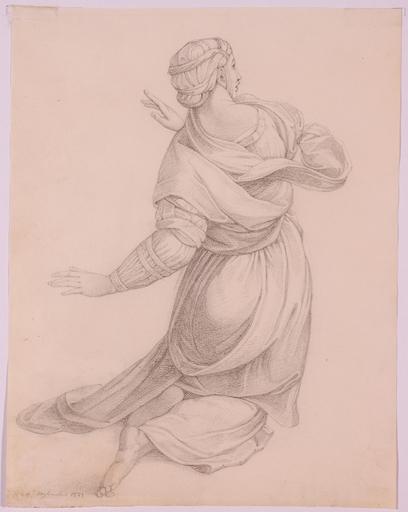 "Franz Xaver NAGER - Zeichnung Aquarell - ""Female Saint Study"", 1821"