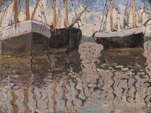 Vladimir Davidovic BARANOV-ROSSINÉ - Painting - A View of Sail Boats