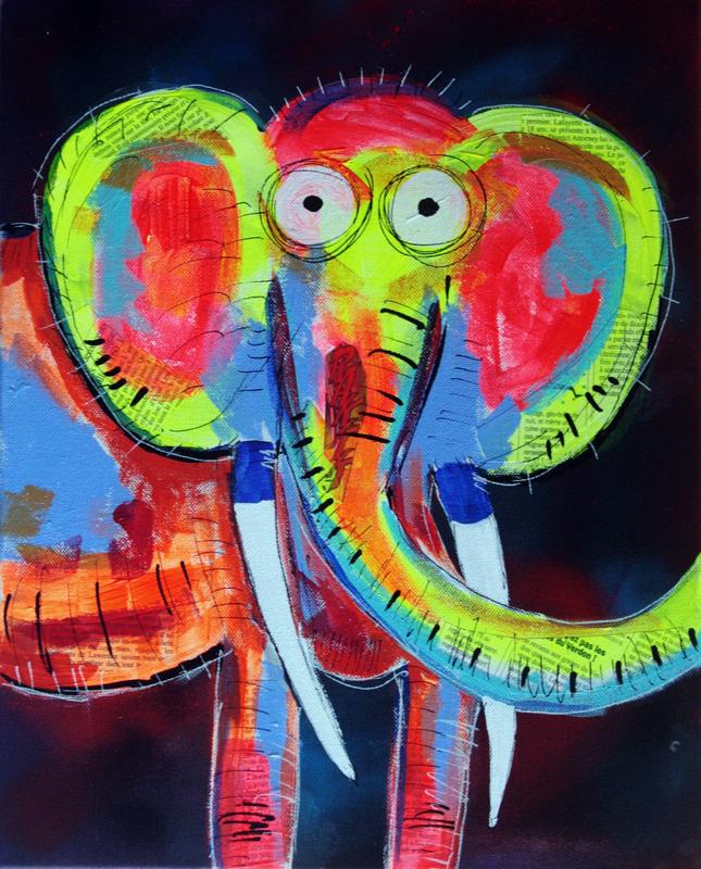 PYB - Painting - PyB elephant pop art