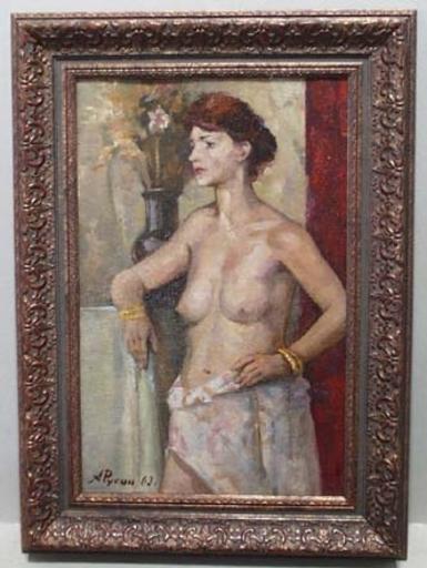 """Arkadi RUSIN - Peinture - """"Woman Half Nude"""" by Arkadi Rusin , 1963"""