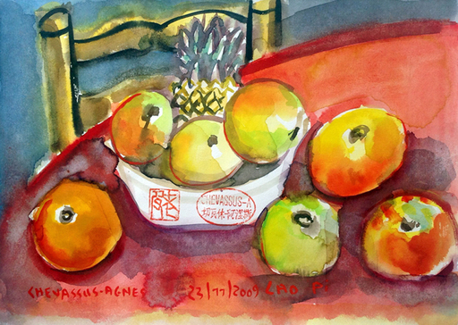 Jean-Pierre CHEVASSUS-AGNES - Dessin-Aquarelle - Annanas et pommes sur la nappe rouge