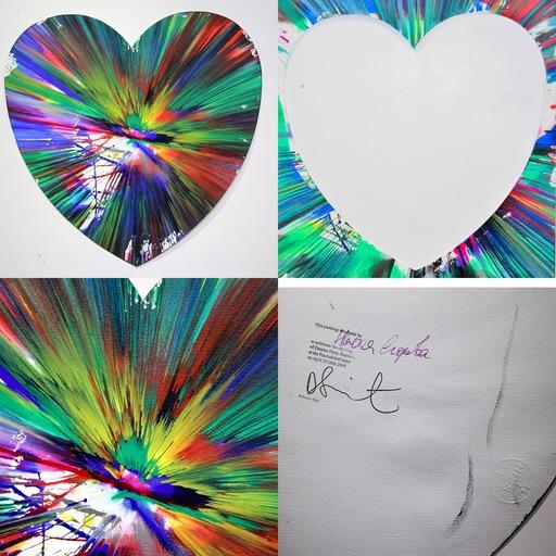 "Damien HIRST - Peinture - ""Heart Spin Painting Diptych"""