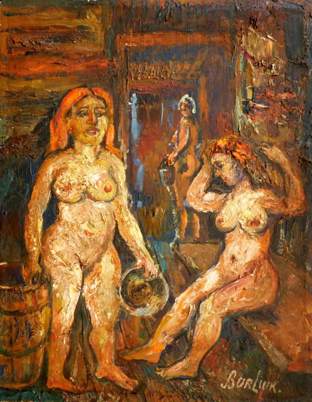 David BURLIUK - Gemälde - Two Women in the Sauna