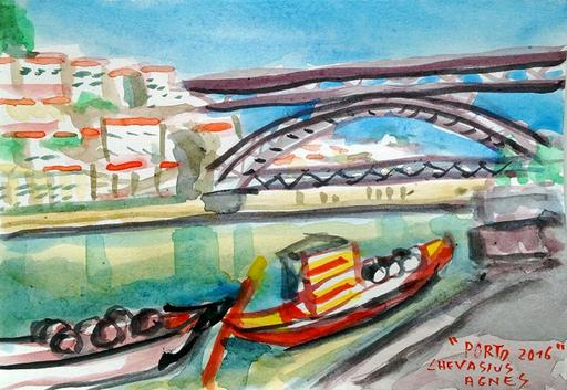 Jean-Pierre CHEVASSUS-AGNES - Dessin-Aquarelle - les barques à tonneaux de PORTO et le pont LUIS