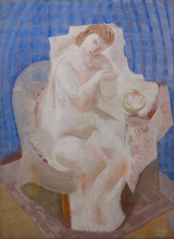 Béla KADAR - Drawing-Watercolor - Seated Nude with Blue Background