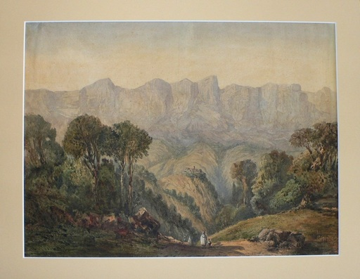 "Émile D. ROUX - Drawing-Watercolor - "" Paysage de l'Atlas """