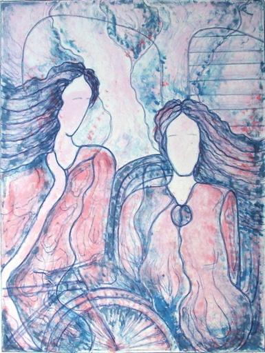 Dionysis PAPADATOS - Grabado - Deux femmes et un vélo