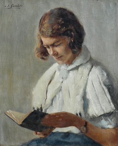 "Louis Édouard GARRIDO - Gemälde - ""la liseuse"""