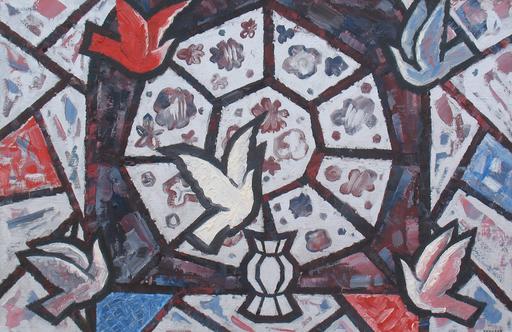 "Sergey BORISOV - Pintura - Bouquet ""Viking"" flowers birds white red"