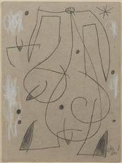 Joan MIRO - Dibujo Acuarela - Femme, oiseau, étoile, constellation