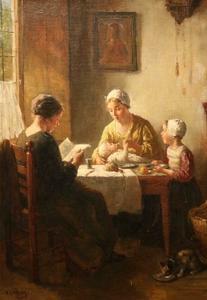 Bernard Johann DE HOOG - Painting - the happy family