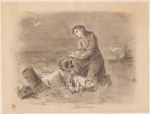 "Adalbert Franz SELIGMANN - Dessin-Aquarelle - ""Saved"", Drawing, late 19th Century"