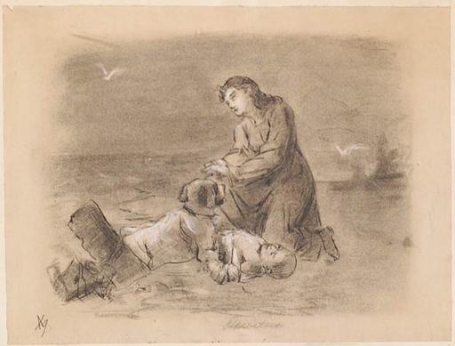 "Adalbert Franz SELIGMANN - Dessin-Aquarelle - ""Saved"", Drawing, late 19th Century"
