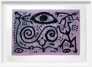 A.R. PENCK - Grabado - Weltbild violett - World painting violet