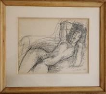 Marcel GROMAIRE - Dibujo Acuarela - Dessin de nu alangui