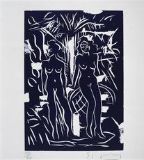 Stefan SZCZESNY - Grabado - Two Women in Blue