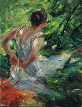 Edward CUCUEL - Painting - Dame mit Kleid, Impressionist , lady with dress