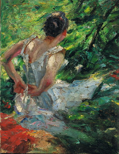 Edward CUCUEL - Pittura - Dame mit Kleid, Impressionist , lady with dress