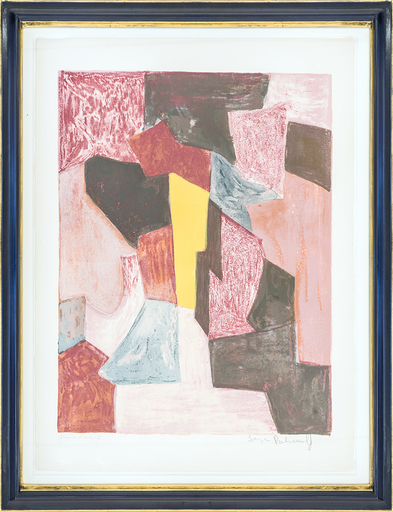 Serge POLIAKOFF - Print-Multiple - Composition rouge, carmin et jaune