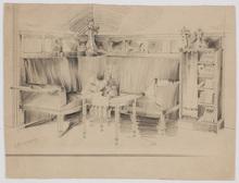 Ladislaus Eugen PETROVITS - Dibujo Acuarela - Art Nouveau Interior Design, ca 1900