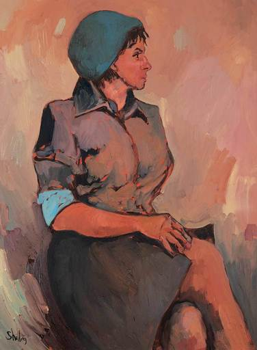 Bewabon SHILLING - Pintura - Untitled - The Girl in the Blue Hat