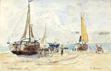 Eugène BOUDIN - Painting - Port scene, 1885