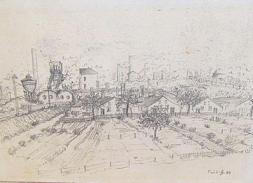 Friedrich EINHOFF - Drawing-Watercolor - #20018: Häuser vor Industrieanlagen.