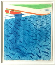 David HOCKNEY - Print-Multiple - Pool Made with Paper and Blue Ink for Book