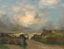 Joseph Paul MESLÉ - Pintura - Portsall (Finistère) Maison de pêcheur