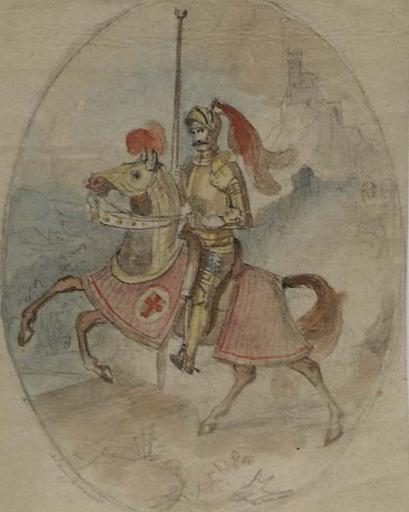 "Adam BRENNER - Dessin-Aquarelle - ""Knight"" by Adam Brenner, early 19th Century"