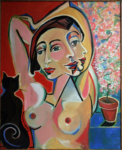 LOLOCHKA - Pittura - Femme à la fenêtre avec un chat noir