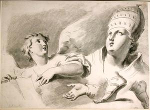 Pietro Antonio NOVELLI - Drawing-Watercolor - Study of an Angel and the Pope