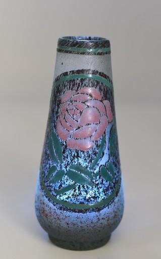 André DELATTE - Vase – Verre givré émaillé