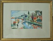 François DESNOYER (1894-1972) - Vue de village animée