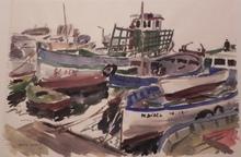 Rafael ORTIZ ALFAU - Dibujo Acuarela - Barcos