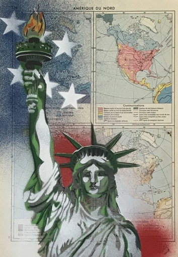 KIKI - Zeichnung Aquarell - Carte Amérique du Nord