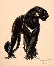 Paul JOUVE - Grabado - Panthère noire debout